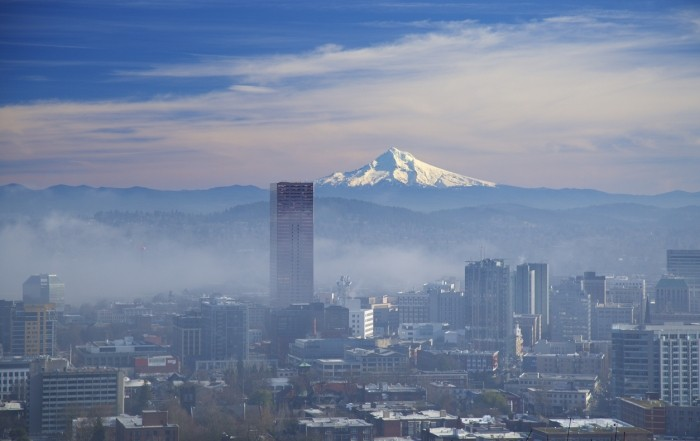Morning fog clearing out in downtown portland